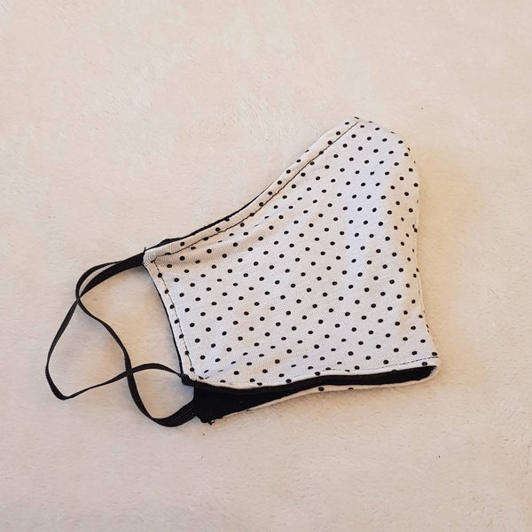 Handmade white face mask with black dots, 100% cotton, one size, different colors, custom request