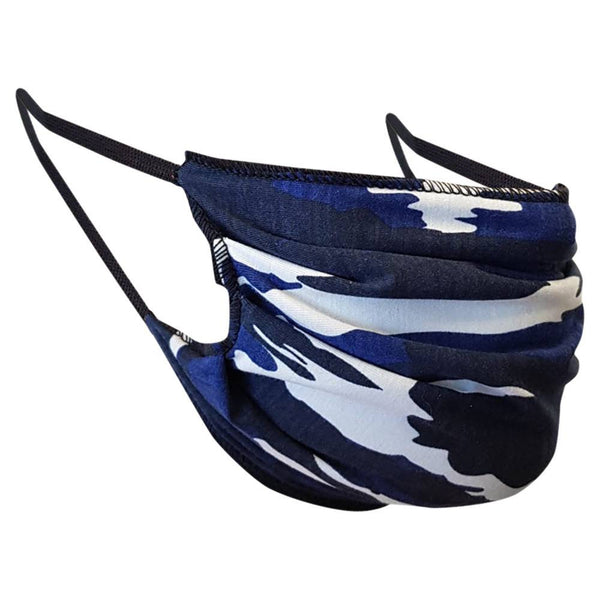 Handmade Blue camo face mask, around head, over ears, cotton, one size, Blue camouflage, custom request