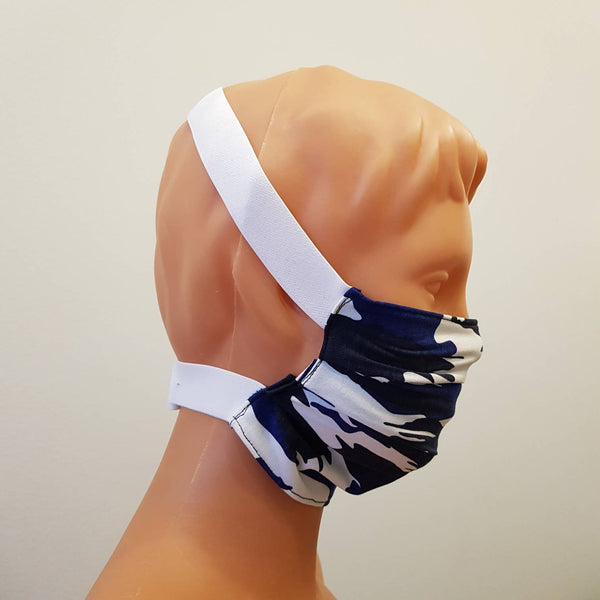 Blue camo around head White wide elastic, Handmade face mask, cotton, one size, custom request