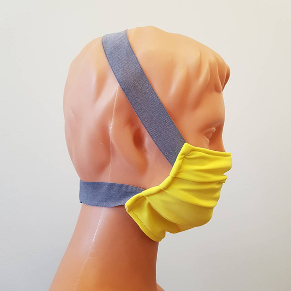 Yellow cotton Gray wide elastic  Handmade face mask, cotton, one size, custom request, reusable, washable,  2 layers