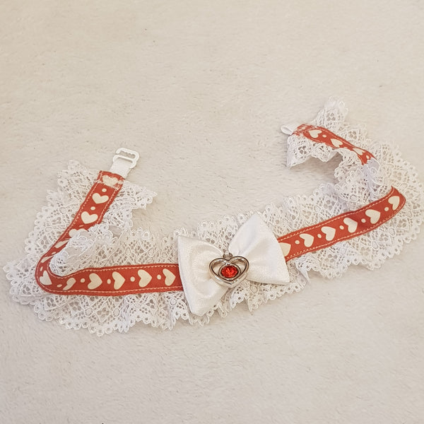 Handmade choker lace necklace collar white color with hearts and big bow and metal heart in the middle