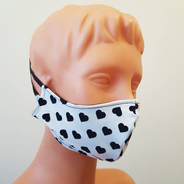 Handmade white face mask with black hearts, 100% cotton, one size, different colors, custom request
