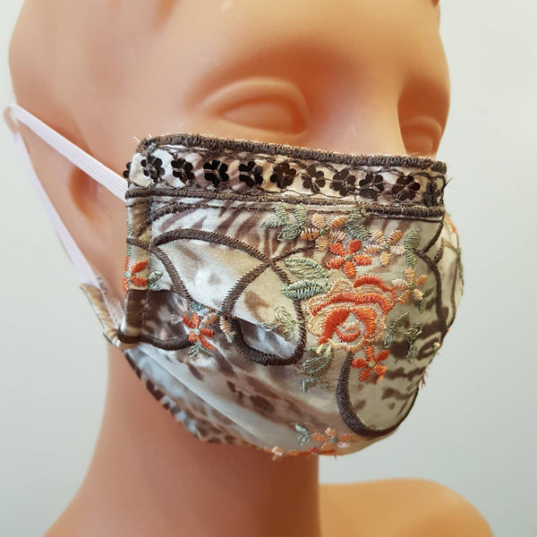 Non-medical 2 layers embroidered lace Handmade face mask, cotton, one size, custom request