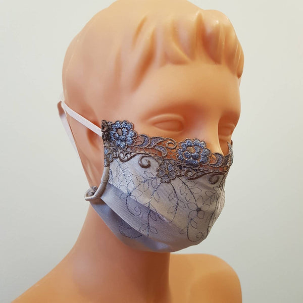 Embroidered lace Non-medical 2 layers Handmade face mask, cotton, one size, custom request