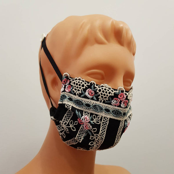Non-medical Black lace 3 layers embroidered lace Handmade face mask, cotton, one size, custom request