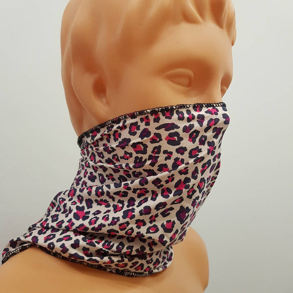 Bufanda, handkerchief, Colored leopard Multifunctional scarf, wrap, elastic bufanda, Handmade face mask, cotton, one size, custom request