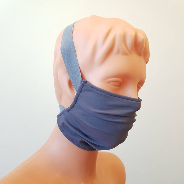 Grey cotton Grey wide elastic Handmade face mask, cotton, one size, custom request