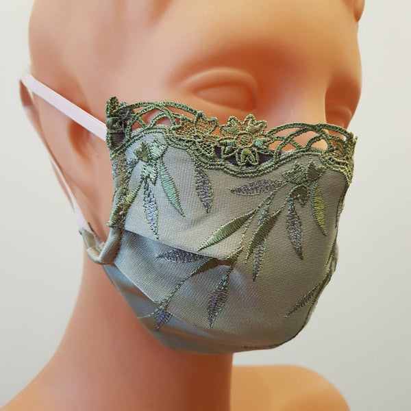 Olive lace Embroidered lace Non-medical 2 layers Handmade face mask, cotton, one size, custom request