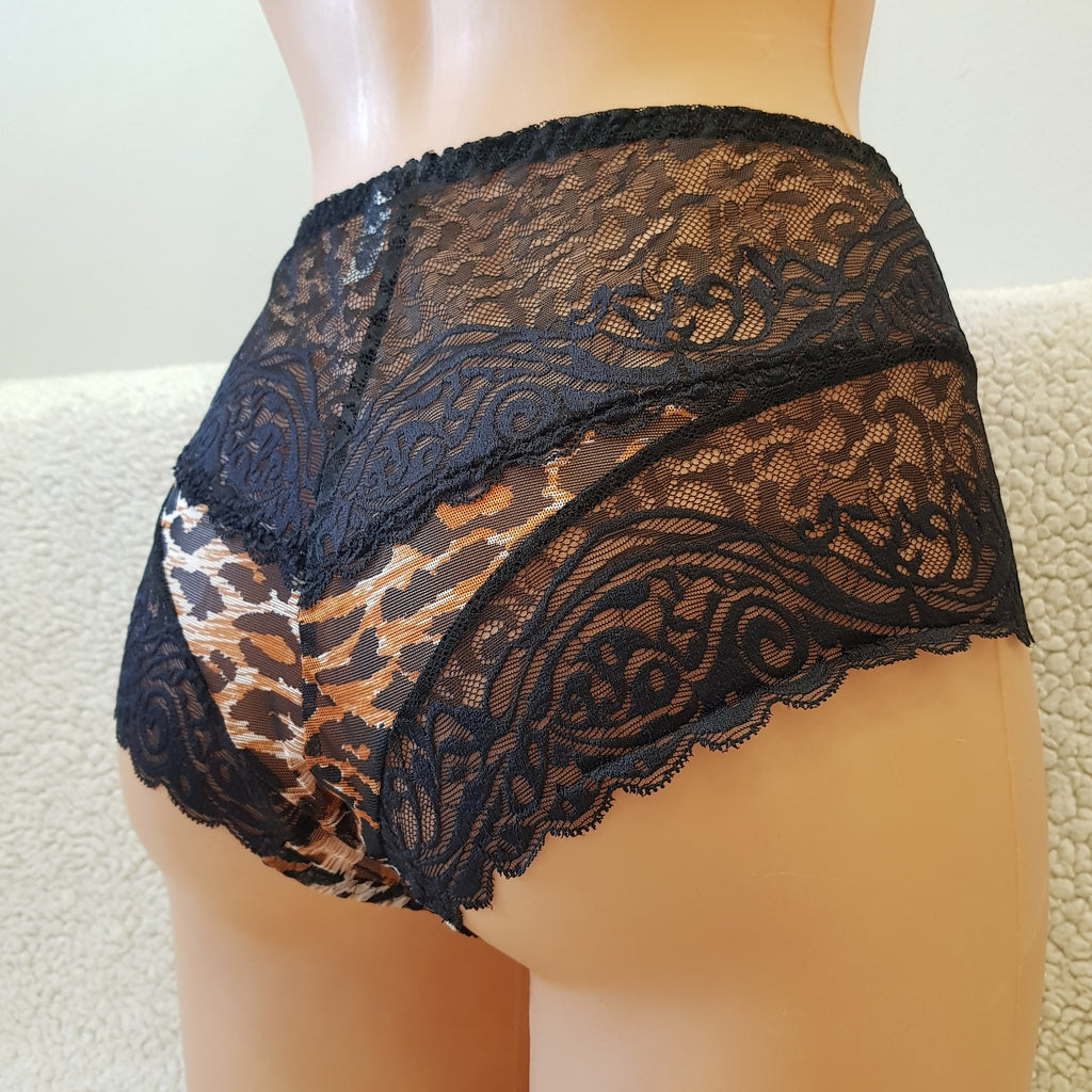 An Elastic Comfortable panties Blue Lace Leopard style Abstract fabric Woman lingerie Underwear Nightwear Everyday lingerie