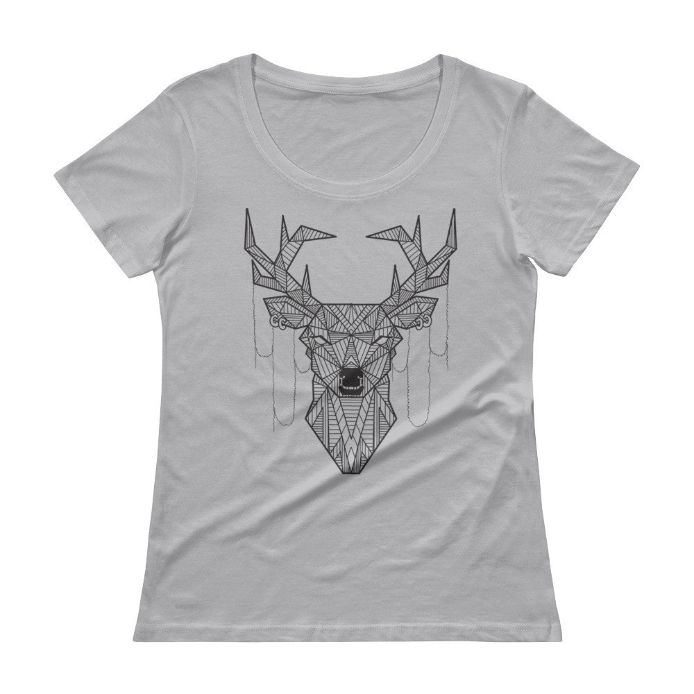 young buck art design scoopneck t-shirt grey