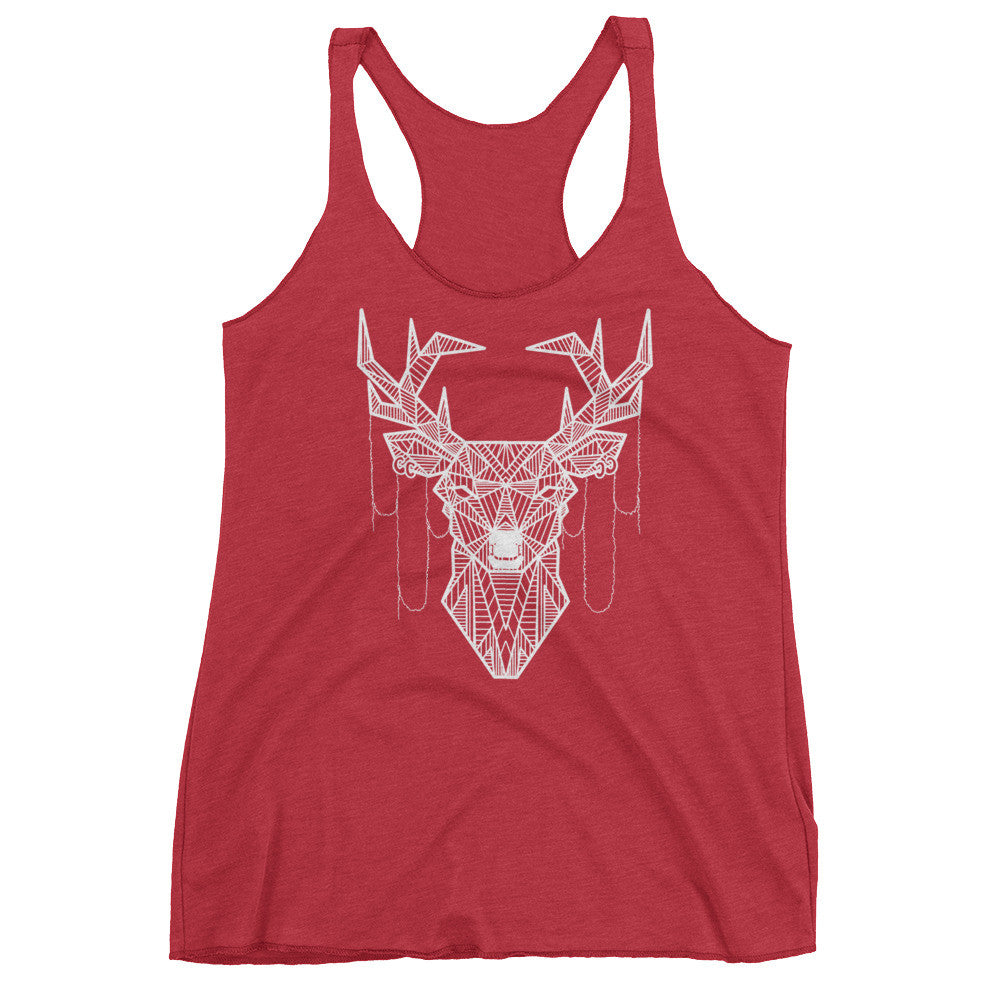 young buck art design singlet red