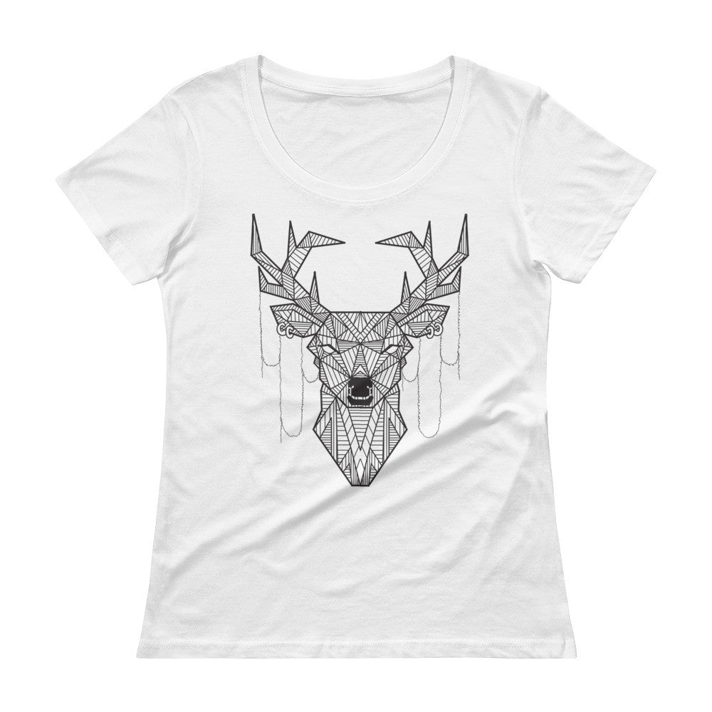 young buck art design scoopneck t-shirt white