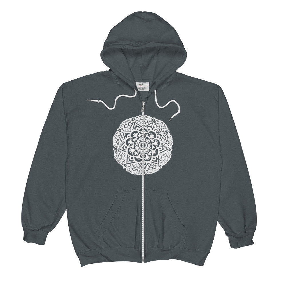 mandala art design zip hood sweatshirt grey