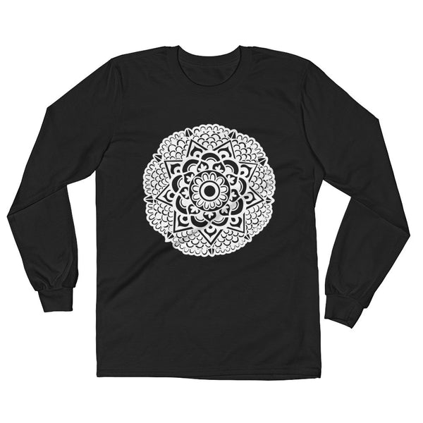 mandala art design long sleeve t shirt black