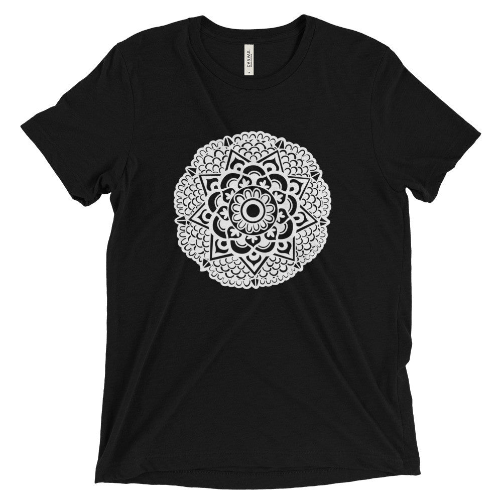 mandala art design vintage tri-blend t shirt black