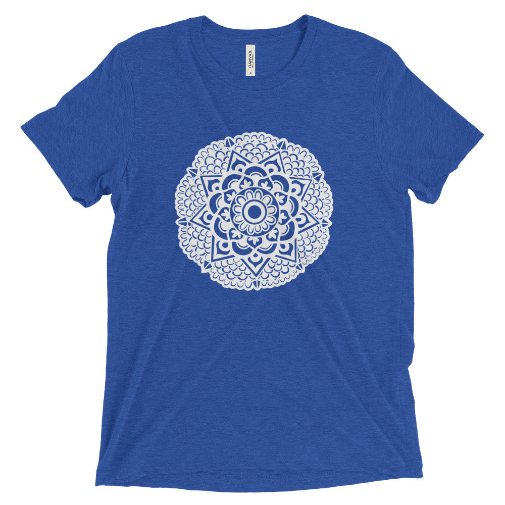mandala art design vintage tri-blend t shirt blue