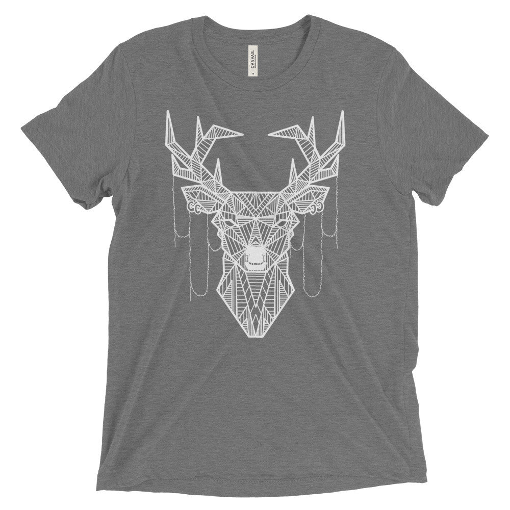 young buck art design vintage tri-blend t-shirt grey