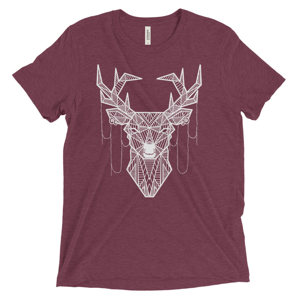 young buck art design vintage tri-blend t-shirt maroon