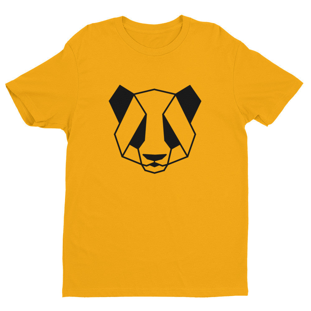 panda art design t-shirt gold