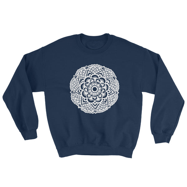 mandala art design raglan sweatshirt blue