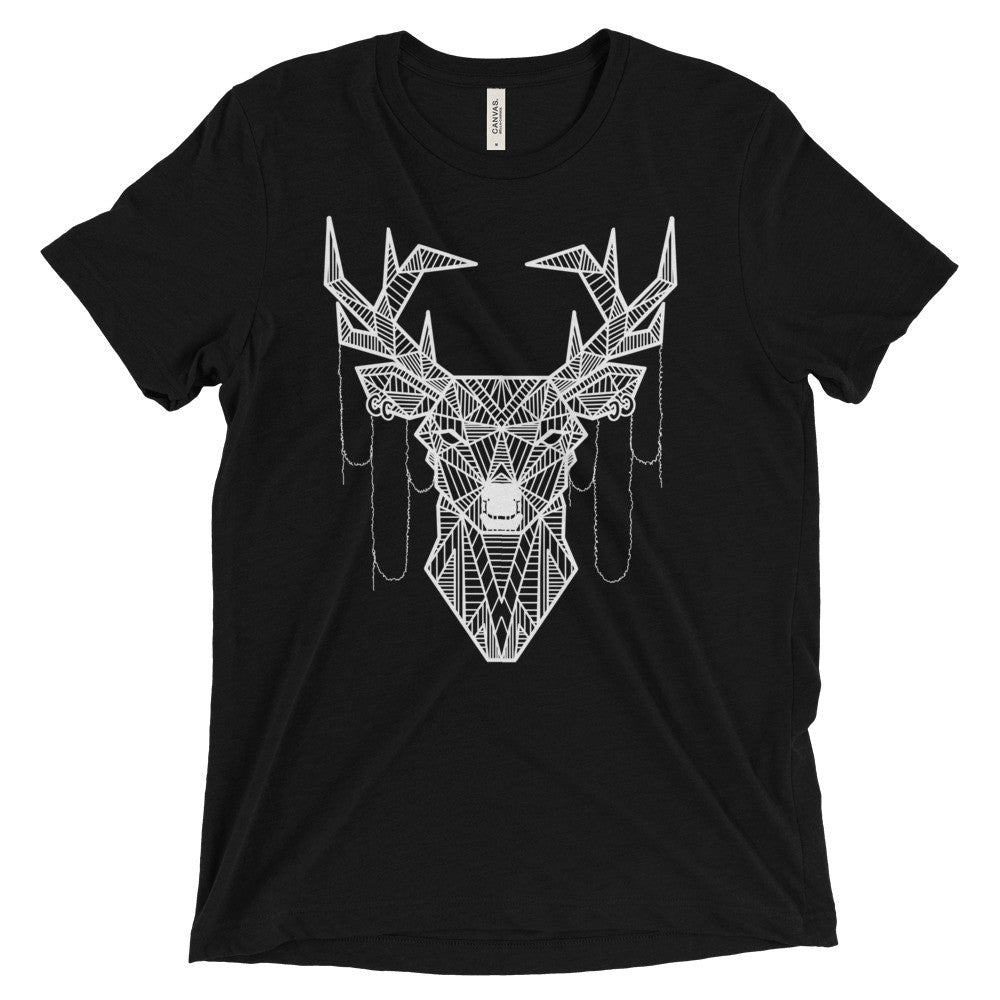 young buck art design vintage tri-blend t-shirt black