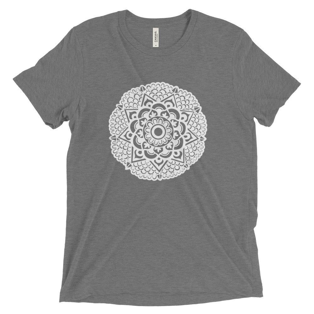 mandala art design vintage tri-blend t shirt grey