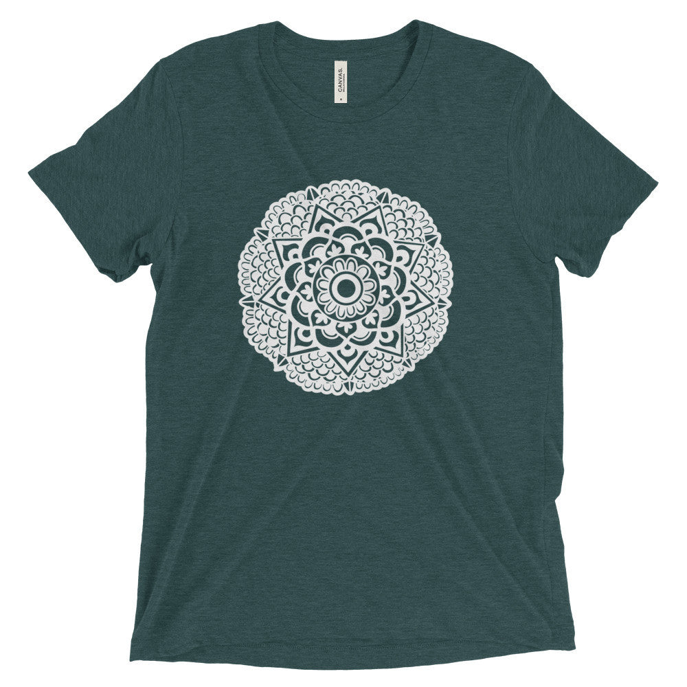mandala art design vintage tri-blend t shirt green