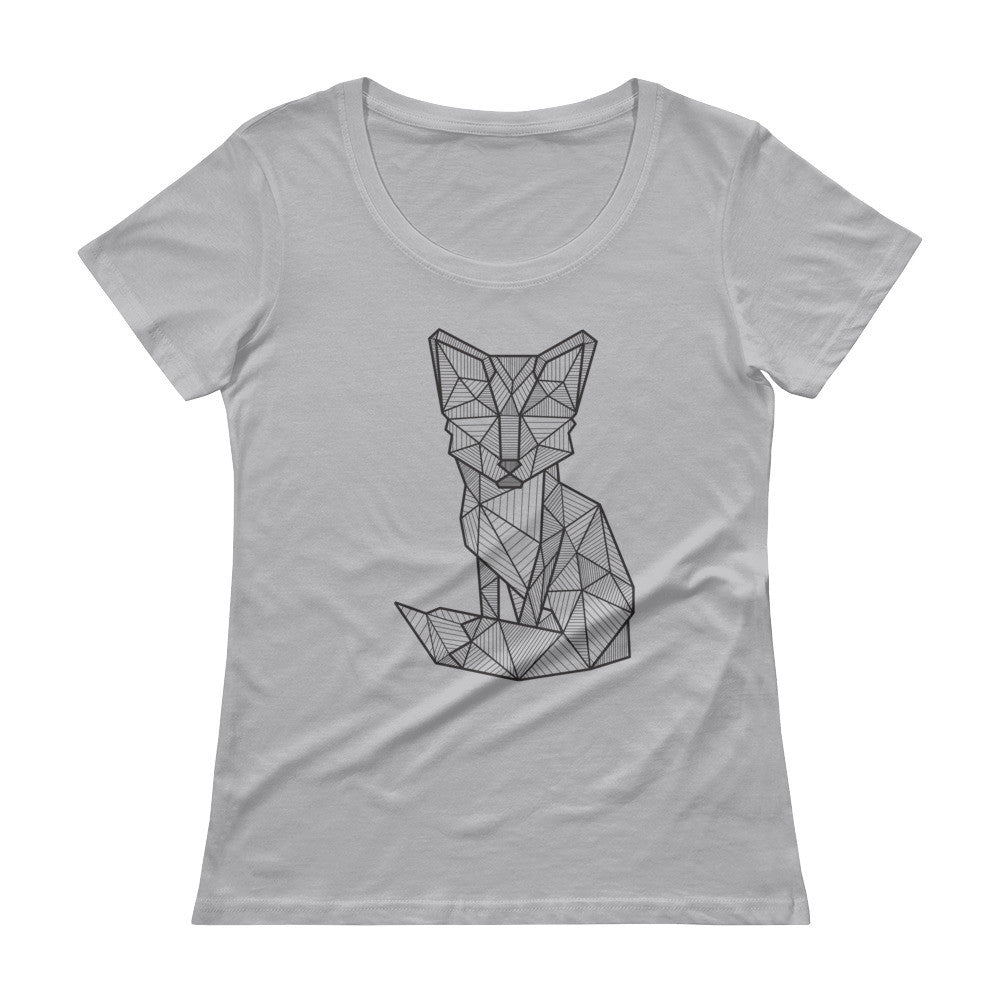 foxy art design scoopneck t shirt grey