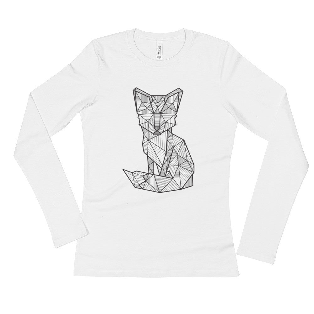 foxy art design ladies long sleeve t shirt white