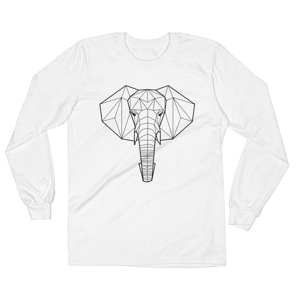 elephant loosest art design long sleeve t-shirt white