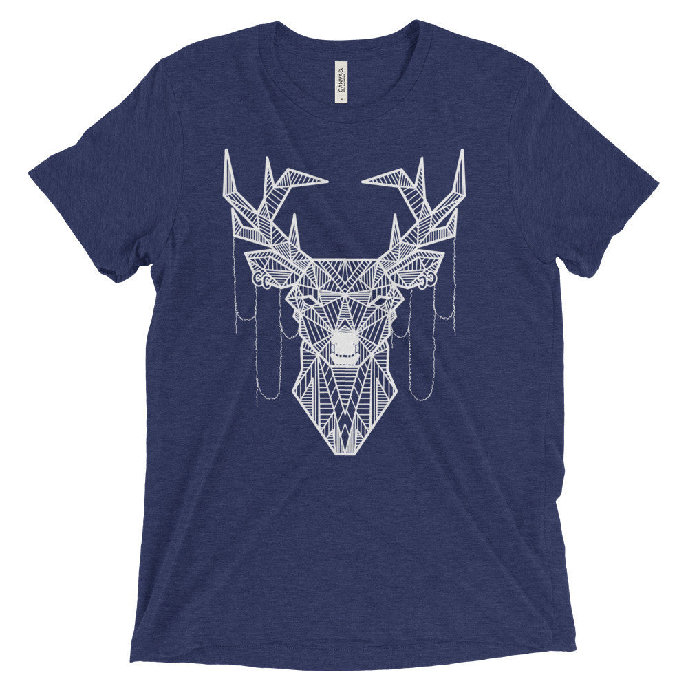 young buck art design vintage tri-blend t-shirt blue