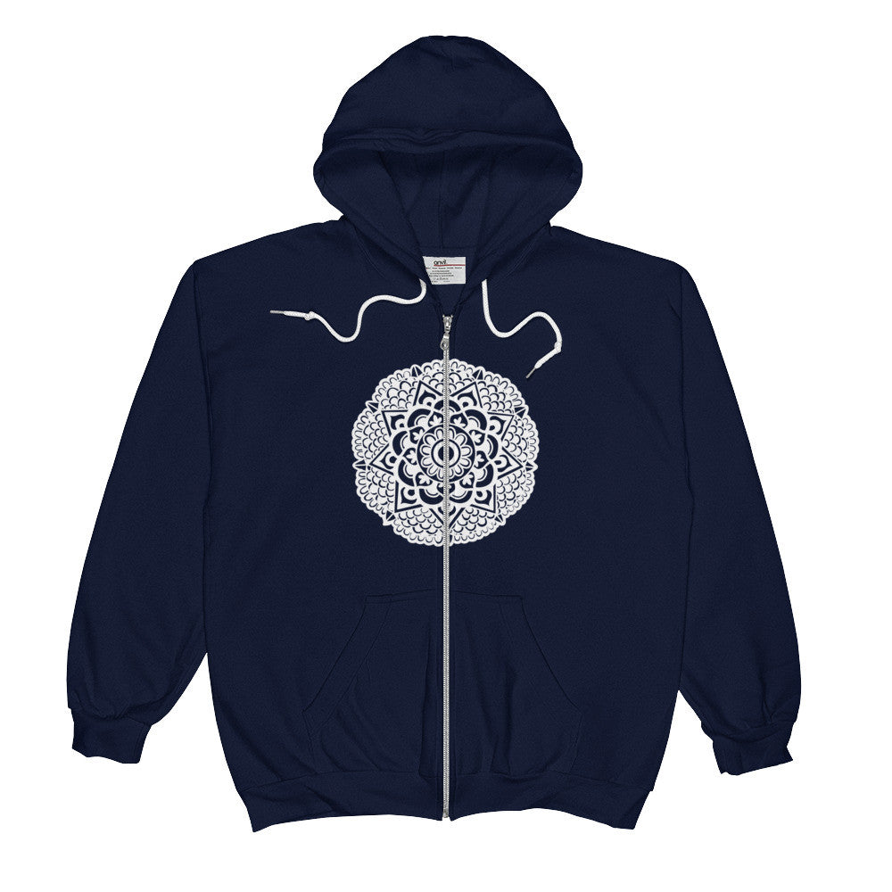 mandala art design zip hood sweatshirt navy blue