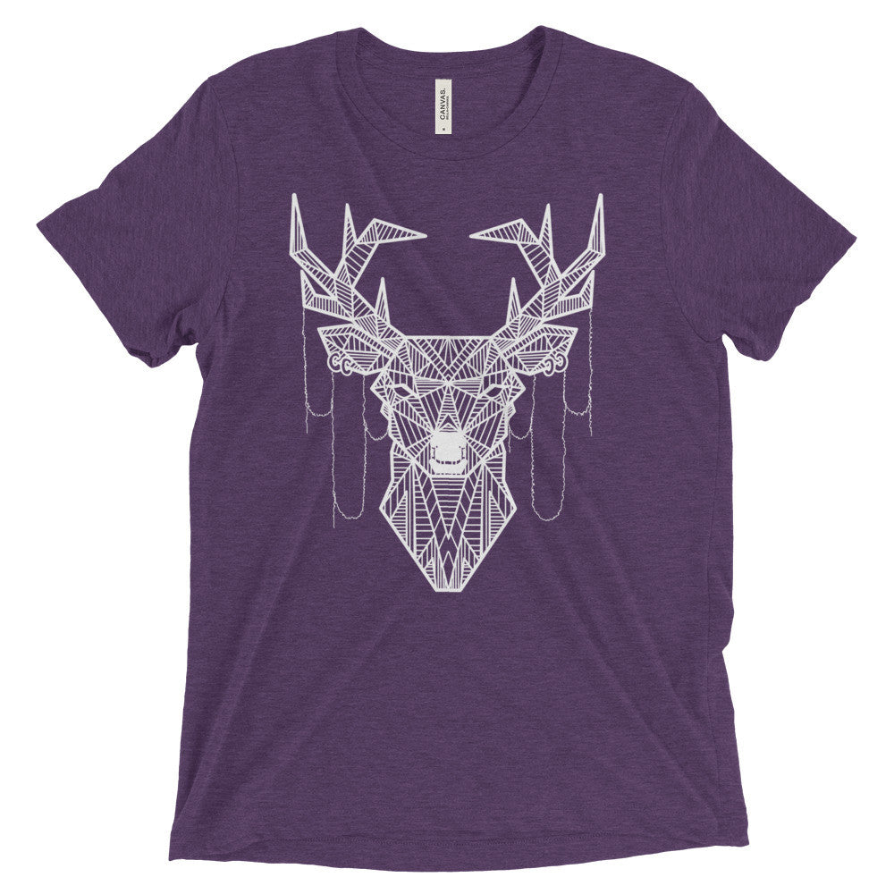 young buck art design vintage tri-blend t-shirt purple