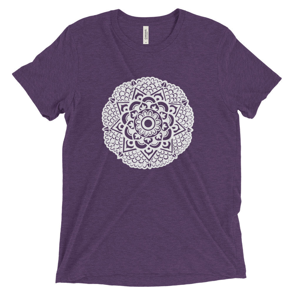 mandala art design vintage tri-blend t shirt purple