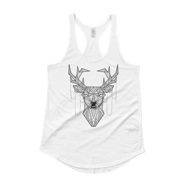 young buck art design singlet tank top white