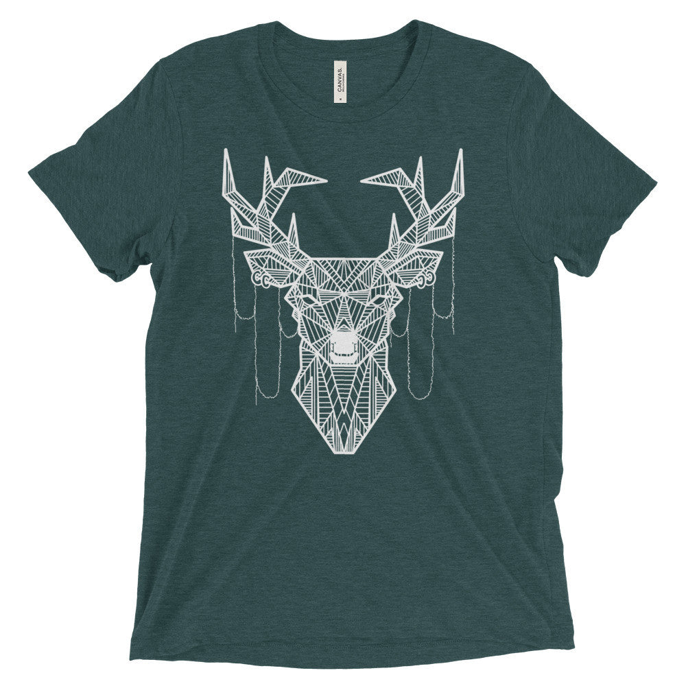young buck art design vintage tri-blend t-shirt green