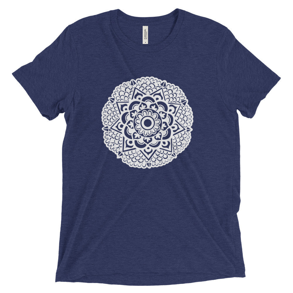 mandala art design vintage tri-blend t shirt navy