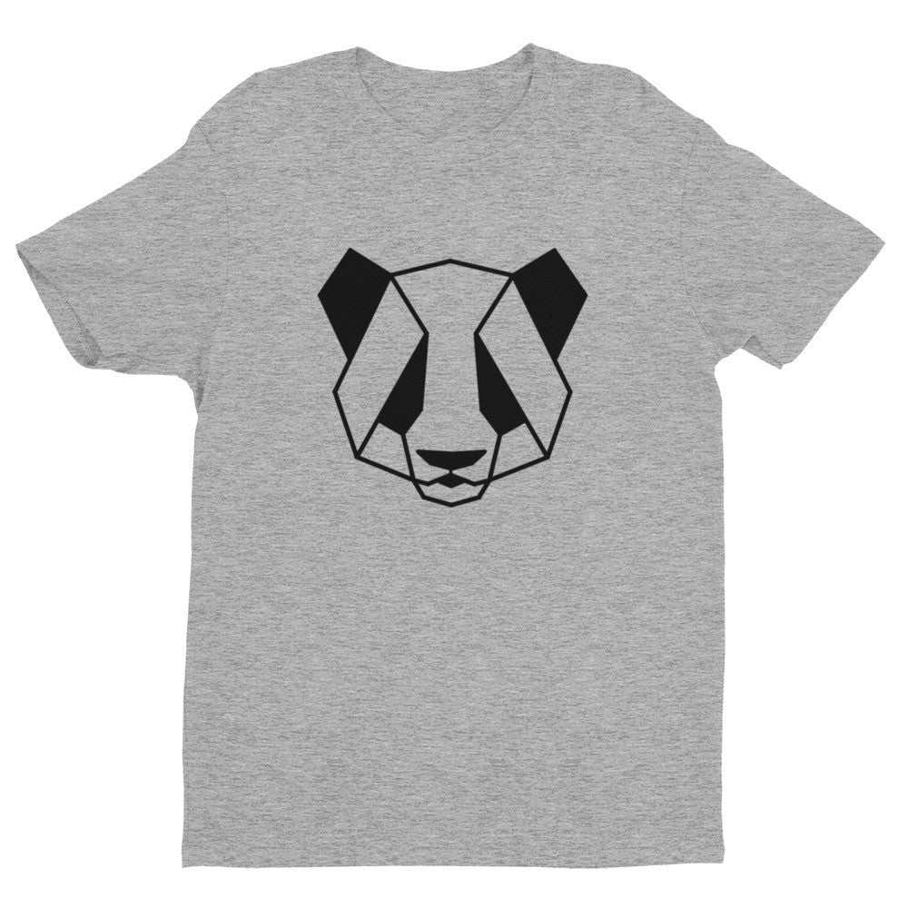 panda art design t-shirt grey