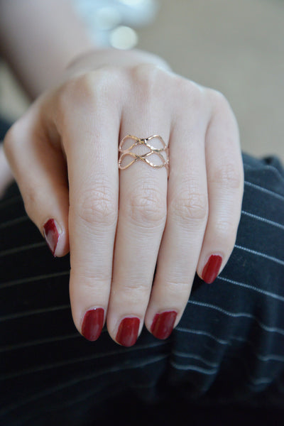 Gold Tone Fretwork Ring