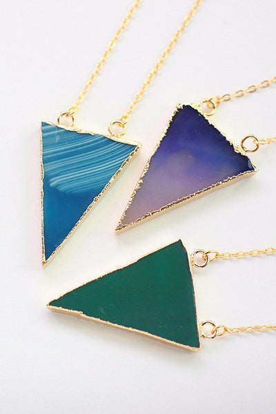 Delicate Handmade Gold Rimmed Agate Necklaces