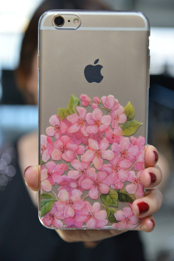 Clear Peach Flower Case for iPhone 6S/ 6S Plus