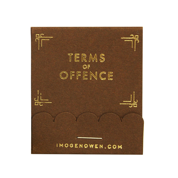 TERMS OF OFFENCE MATCHBOOK