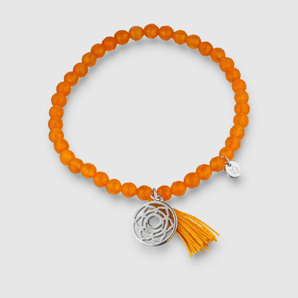 Armband Achat Sakral-Chakra Sterling Silber