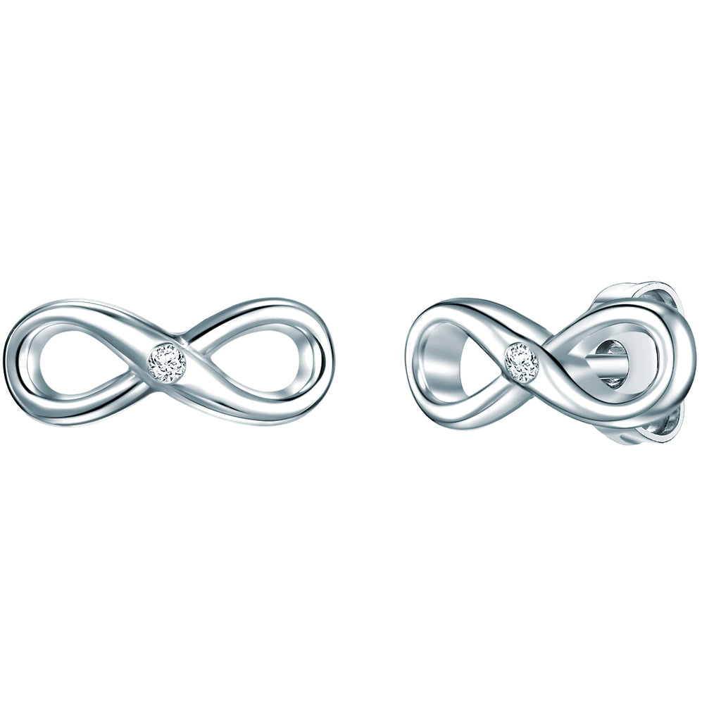 Ohrstecker Infinity Sterling Silber Diamant