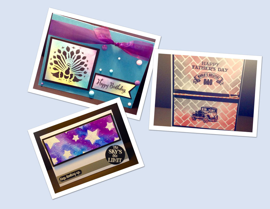 3 Cards using the Stencils available in store