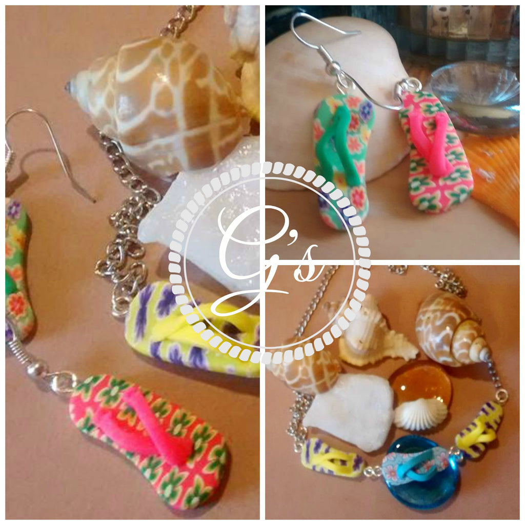 Summer Fimo Flip Flop necklace & earring DIY