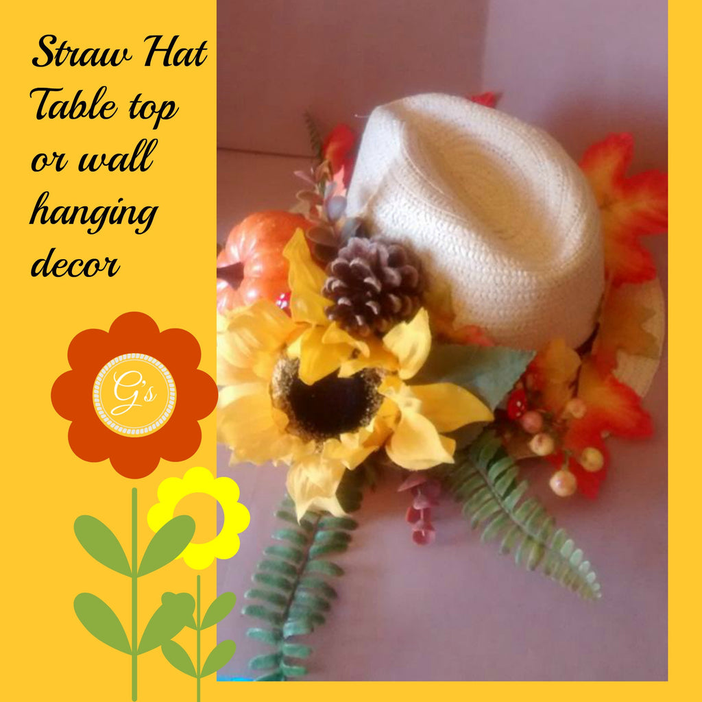 Autumnal Straw hat Table top or Wall/Door Decor