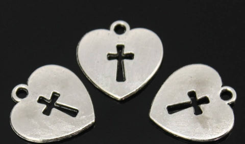 Tibetan Silver Heart With Inner Cross