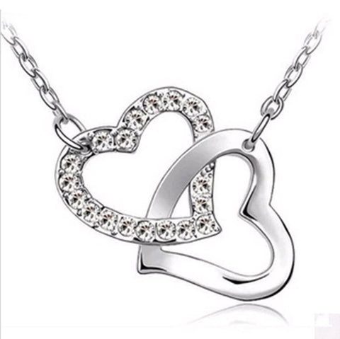 SALE: Silver Double Heart Necklace