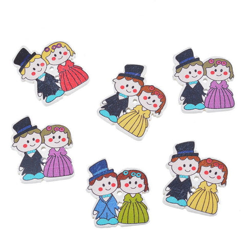 Pack of 4 Wooden Bride & Groom Button